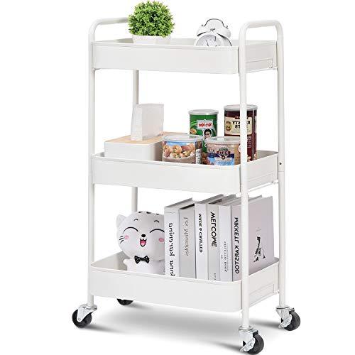 kingrack 3-poziomowy wózek na kółkach, metalowy wózek do przechowywania z zamykanymi kółkami, stojak na przenośny stojak na wózek do przechowywania półki do biura, łazienki, klasy, kuchni wózek serwujący wózek narzędziowy bez śrub montaż biały
