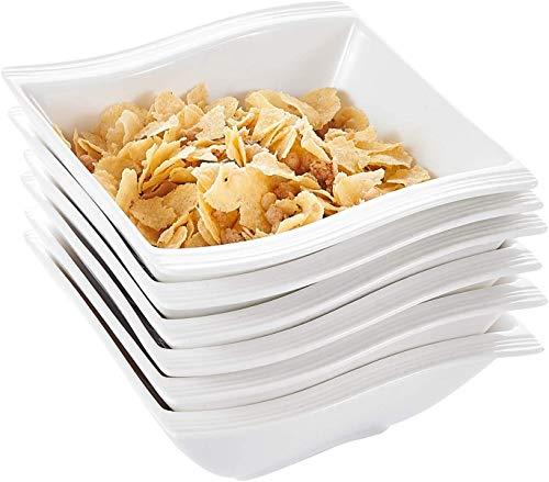 MALACASA, Série Flora, 18pcs Bols à Céréales Bol à Soupe Riz Tapas Sauce Porcelaine 14 * 14.5 * 5.5cm Design Moderne Service Petit Déjeuner