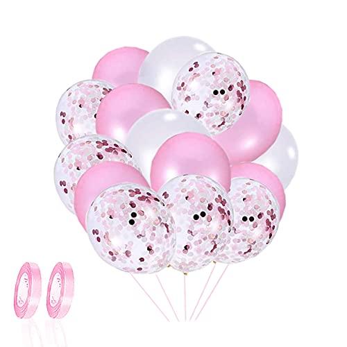 Palloncini Lattice,60 Pezzi Palloncini Compleanno Rosa Palloncini coriandoli Palloncini Battesimo Bambino per Matrimoni Feste di Compleanno e Decorazioni Baby Shower Cerimonia