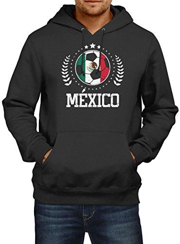 Shirt Happenz Mexiko WM 2018#20 Premium Hoodie Fan Trikot Fußball Weltmeisterschaft Nationalmannschaft Herren Kapuzenpullover, Farbe:Schwarz;Größe:S