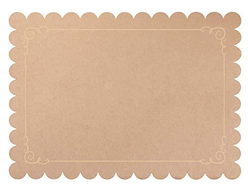 Juvale Lot de 100 sets de table jetables en papier Kraft Marron 25,4 x 35,6 cm
