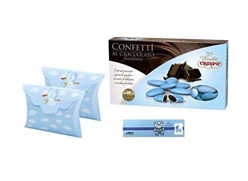 Scatoline Portaconfetti Bustina 25 pz + 1 kg confetti + bigliettini (cicogna celeste 81597)