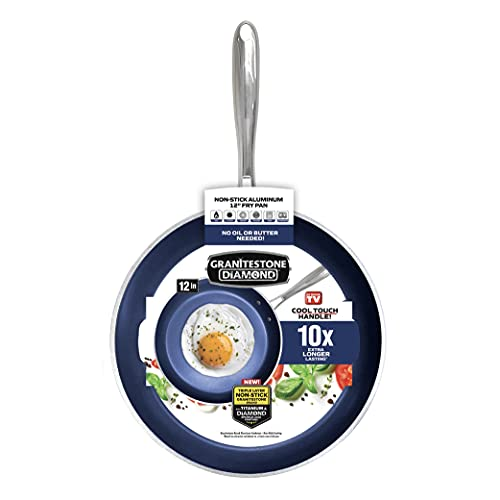 Granitestone Blue 12 XL Frying Pan with Ultra Durable Mineral and Diamond Triple Coated 100% PFOA Free Skillet with Stay Cool Stainless Steel Handle Oven & Dishwasher Safe