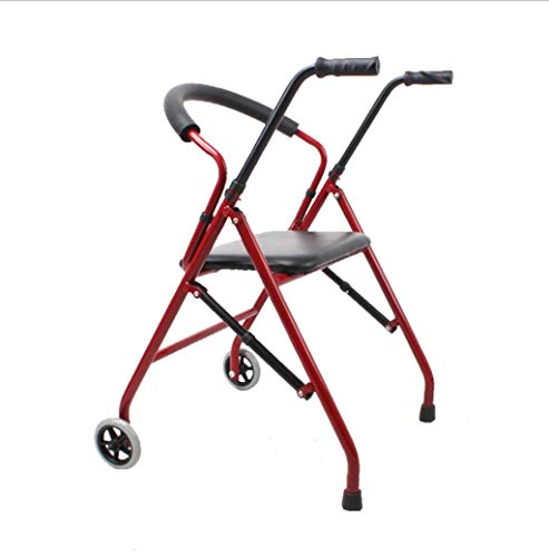 ZXL Walker, zusammenklappbarer Reha-Stuhl mit Sitz und Rad, rutschfeste vierbeinige Krücken für ältere Menschen mit Behinderung, 4 Höhenverstellung, Karbonstahl, Traglast 100 kg (Farbe: Rot) rot