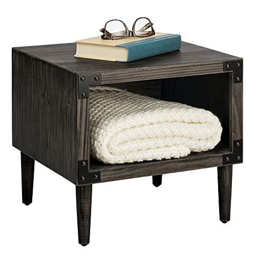 mDesign Nattduksbord — sovrumsbord med djup hylla för förvaring — Nattbord för lagring av lampor, böcker, telefoner och mer — svart tvätt