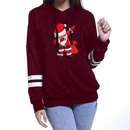 HOTHONG Pulls Hoodie Femme De NoëL Sweat à Capuche Sweatershirt Tops Blouse Rayure Manches Longues Sweat-Shirt Veste for Women Pas Cher Manteau