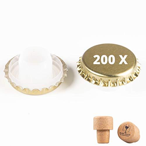 200 Anti-Rost Kronkorken mit Bidoule Medusa Ø 29 mm für stille Weine, Sekt, inkl. 2 Pilzstopfen Gold