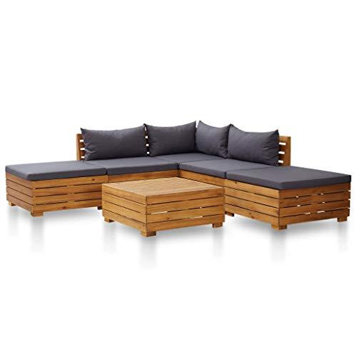 vidaXL Akazienholz Gartenmöbel 6-TLG. mit Auflagen Lounge Sofa Sitzgruppe Garten Garnitur Gartenset Sitzgarnitur Gartensofa Dunkelgrau