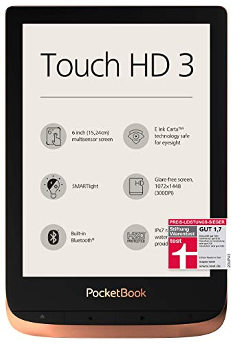 "PocketBook - Lettore eBook ""Touch HD 3"" (16 GB di memoria; schermo con tecnologia E-Ink da 15,24 cm (6 pollici), Smart light, Wi-Fi, Bluetooth), in rame rame"
