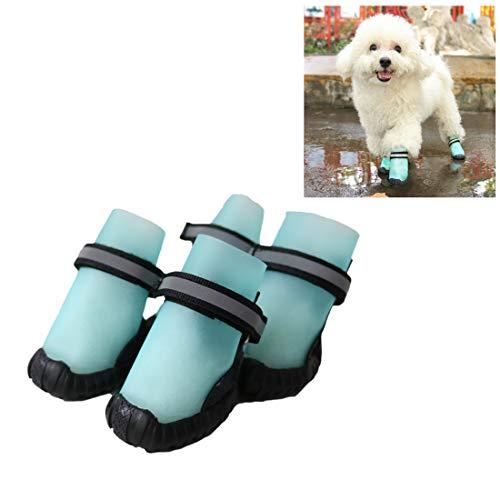 VICTORIE Zapatos Perro Botas Impermeable Antideslizante Lluvia Reflectante Invierno Otoño Nieve para Mediano Y Grandes Perros 4 Pedazo Azul S