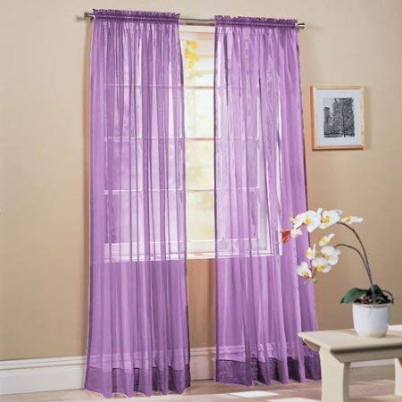 Jasmine Linen 2 pc Sheer Luxury Curtain Panel Set for Kitchen/Bedroom 84' inch Long Variation of Colors (Lavender)