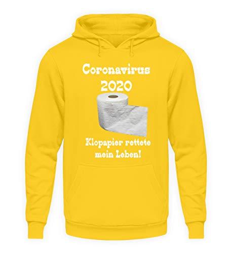 Coronavirus 2020 - Carta igienica salva-vita! - Felpa con cappuccio unisex giallo sole XXL