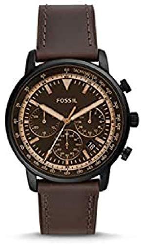 Fossil Herren Chronograph Quarz Uhr mit Leder Armband FS5529