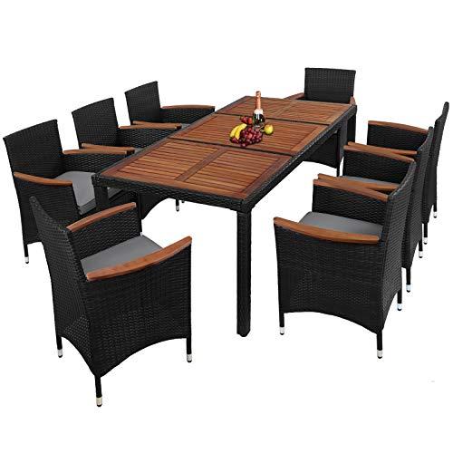 Montafox 17-teilige Polyrattan Garten Essgruppe Terasse Sitzgruppe mit Akazienholz 8 Personen Gartenmöbel mit Kissen und Bezügen, Farbe:Kieselstrand