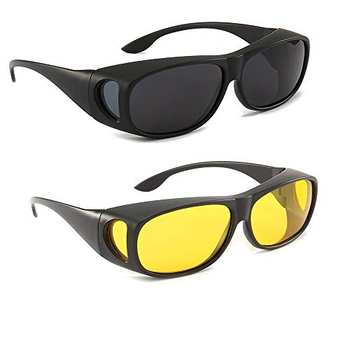 2Pack HD Night Day Vision Driving Wrap Around Anti Glare Sunglasses with Polarized Lens for Man and Women (sand black frame black lens+sand black frame yellow lens)