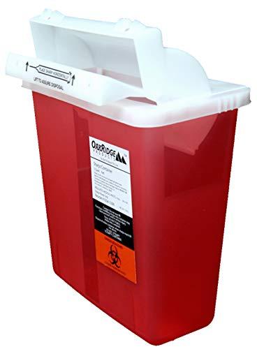 Oakridge 5 Quart Sharps Container (3 Pack) Mailbox Style lid | Bracket Compatible