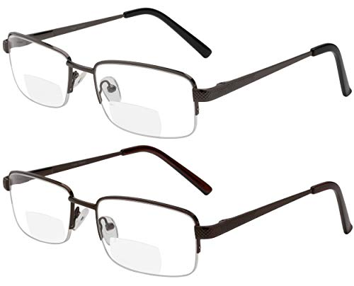 Reading Glasses Set of 2 Bifocal Half Rim Metal Glasses for Reading Quality Spring Hinge Readers Men and Women +1.75