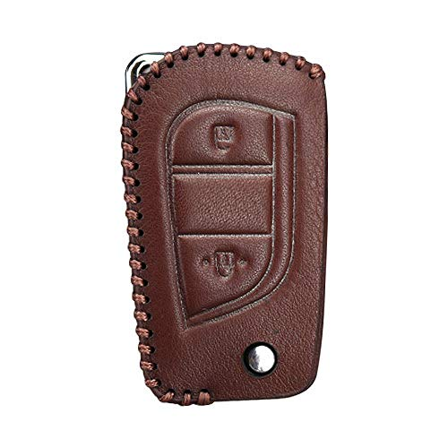 ZYHYCH Leather Car Key Case Cover Protection Shell,Fit For Toyota Corolla avensis Prado Fortuner RAV4 CHR Car Keyring,Brown Case,1