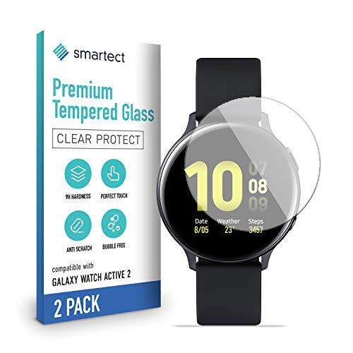 smartect Cristal Templado para Móvil Samsung Galaxy Watch Active 2 [2 Unidades] - Protector de pantalla 9H - Diseño ultrafino - Instalación sin burbujas - Anti-huella
