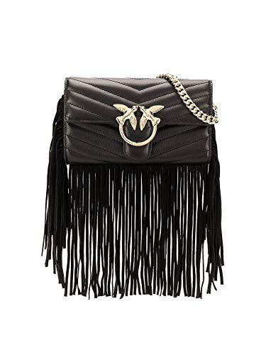 Pinko Love Wallet Fringes C Nappa+sc, Portafoglio Donna, Nero (Azzurro CIC. India), 2.5x10.8x19.2 cm (W x H x L)
