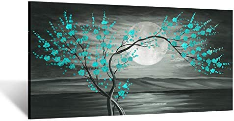 Kreative Arts Large Canvas Prints Wall Art Grey and Teal Plum Blossom Tree and Full Moon Landscape product image