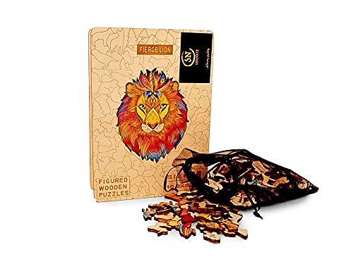 Wooden Animal Lion Puzzles (25 * 23cm) for Adults DIY Puzzle Gifts for Kids and Adults Jigsaw 201218 (Lion)