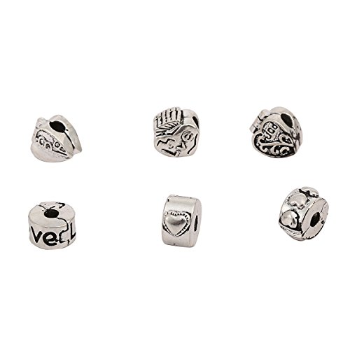 RKC Jewelz x 6 Pcs Oxidised Antique LOVE HEART Stopper CHARM Beads Clips Lock Feature For Fits Charm Bracelets Necklaces Jewellery Making Compatible with Pandora Biagi Troll Chamilia Chains Bracelets