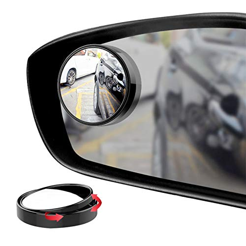"""Ampper Blind Spot Mirror, 2"""" 360 Degree Adjustabe HD Glass and ABS Housing Convex Round Stick-On Mirror for Car (Black, Pack of 2)"""