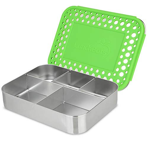 LunchBots Bento Cinco Large Stainless Steel Food Container, 5Section, Polka Dot Case green