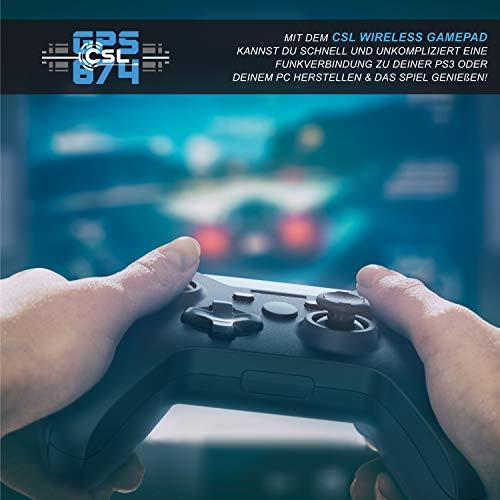 CSL - Wireless Gamepad für PC im Xbox Design - Controller kabellos mit 2,4 Ghz Dongle - hochwertige Analogsticks - geringe Deadzone – schnelle Reaktionsgschwindigkeit - Gummierung für sicheren Grip