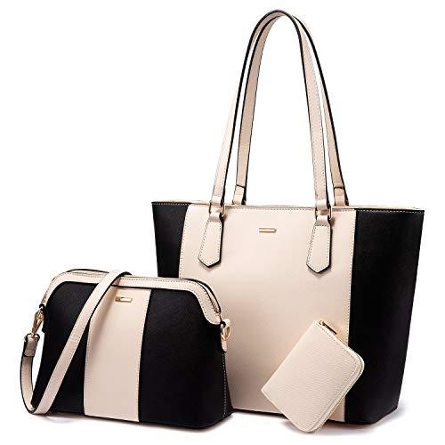 LOVEVOOK Handtasche Damen Gross Handtaschen Set Taschen groß Handtaschen für Frauen Damen-henkeltaschen Shopper Schultertasche, Schwarz Beige