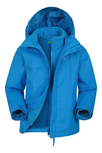 Mountain Warehouse Fell Kids 3 in 1 Jacket Water Resistant Triclimate Rain Jacket Detachable Inner Jacket Packaway Hood Kids Coat for Winter Walking Hiking Cobalt 7 8 Years