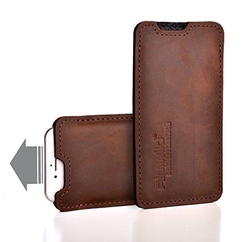 Almwild® Hülle, Tasche für Apple iPhone X/Xs MIT Apple Leder Case/Silikon Case. Aus echtem Rinds- Leder. In Braun. Handyhülle in Bayern handgefertigt. Modell Sattlerschorsch