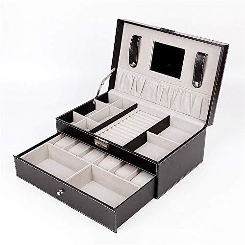 Suytan Caja de Joyería Caja de Joyería de Doble Capa Caja de Reloj de 6 Bits Caja de Embalaje de Exhibición de Alenamiento de Joyería Caja de Cuero,Negro,Talla Única