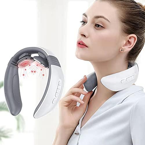 Masajeador Cervical, Masajeador Cervical y Espalda Eléctrico con Función de Calentamiento, 6 Modos Multifuncionales Fisioterapia Electromagnética Profunda (2D)