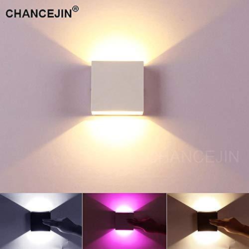 Wandlampen voor kinderen, wandlamp boven/onder, 6 W, COB Light, decoratieve LED-lamp in moderne en eenvoudige stijl, wit/warmwit/roze, omgevingslicht Input 85-265V-Cool_White (5500-7000K), 10 x 6 x 3 cm, zwart