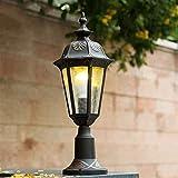 Lámpara industrial, Antiguo clásico aleación de aluminio e27 columna faro valla valla patio césped luz europeo al aire libre impermeable exterior pared pilar lámpara jardín paisaje iluminación vintage