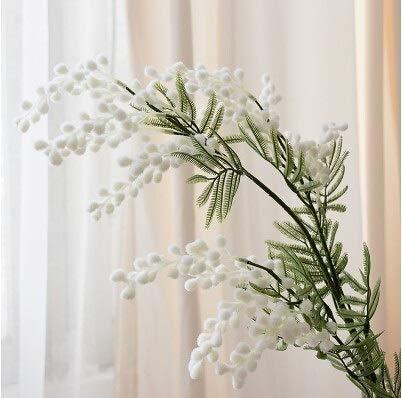 Flores artificiales 86cm Acacia Mimosa amarillo felpa spray planta de frijol 3 Forks artificial de...