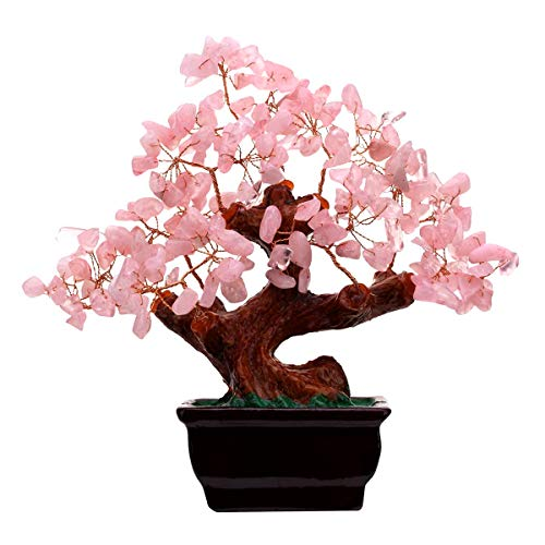 7 Inch Feng Shui Natural Rose Pink Quartz Crystal Money Tree Bonsai Style Decoration for Wealth and Luck Decoration