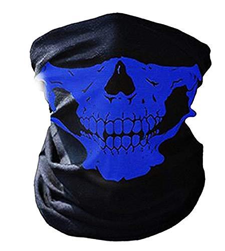 Inception Pro Infinite - Schädel Sturmhaube - Maske - halbes Gesicht - Horror - Cosplay - Halloween - Verkleidung - Motorradfahrer - Radfahrer - Sport - Karneval - Einheitsgröße - blaue Farbe