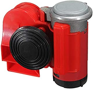 12V 136db Red Car Air Horn Snail Compact Loud Alarm Kit for Car Truck Vehicle Motorcycle