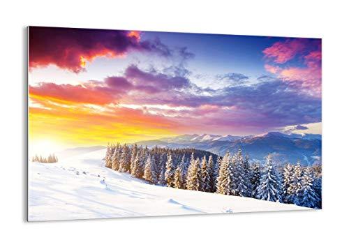 ARTTOR Quadro su Vetro - Elemento Unico - Montagne Neve Inverno - 120x80cm - Pronto da Appendere - Home Decor - Arte Digitale - Quadri Moderni in Vetro - Stampe da Parete - GAA120x80-3605