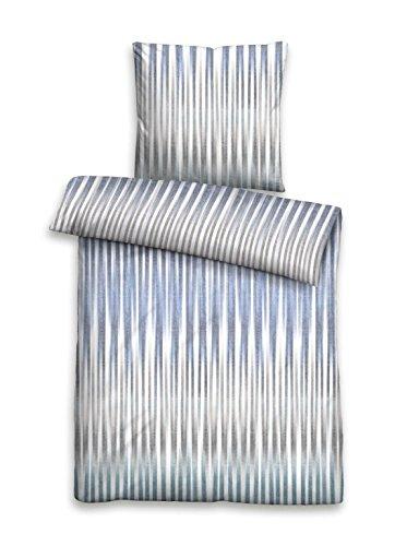 Biberna 0636029 Juego de Cama con Fundas de Almohada Satén de algodón mako 1x 155x200 cm + 1x 80x80 cm, Azul