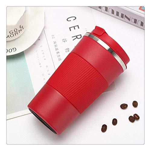 LIYONG Taza térmica de 380 ml/510 ml portátil de acero inoxidable 304 taza de café con funda antideslizante, taza térmica de viaje HLSJ