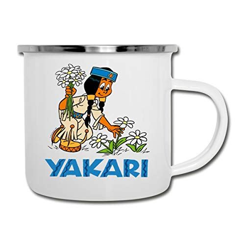 Yakari Indianerin Regenbogen Pflückt Blumen Camping-Becher, Weiß