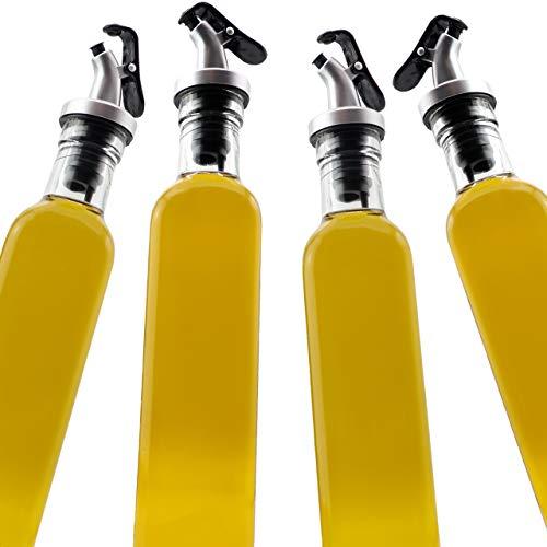 A|M|I|N|A Essig und Öl Spender Set - 4 x 500 ml Flaschen aus Glas mit Trichter aus Metall und Etiketten zur Beschriftung | Auslaufsicher und Tropffrei | mit Anti-Schmutz Verschluss