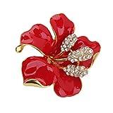 Broche Fantaisie Fleur Rouge Strass Epingle Pin's Métal Femme Bijoux A Mode