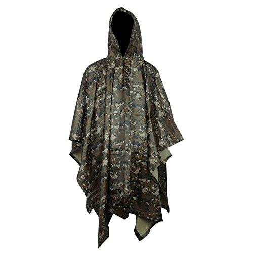 Yosoo Armee Stil Multifunktionale Regenponcho aus Wasserdichtem Ripstop Polyester PU Poncho mit eine Regen Tasche Regenbekleidung Regenschutz Regenumhang (Digital)
