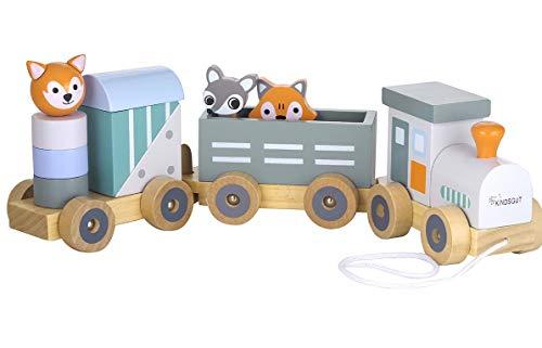 KINDSGUT Petit Train en Bois et Cubes de Construction,...