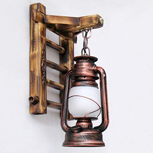 LGOO1 American Retro Nostalgische Wandleuchte Teahouse Inn Bar Freizeit Aisle Wandbeleuchtung Kreative Kerosene Pferd Licht Bambusleiter Wandleuchte aus Holz Metall-Rost Farbe Rural Mittelmeer E27